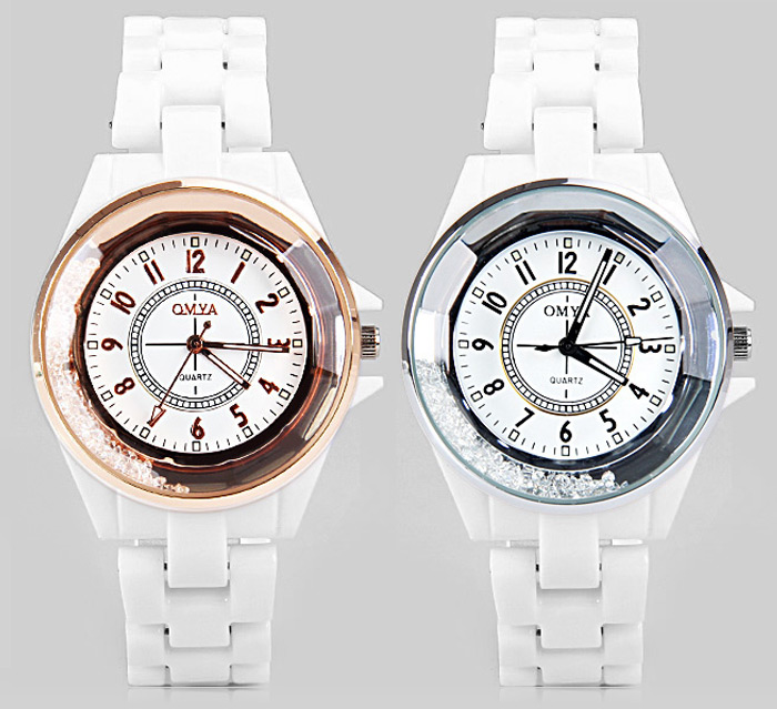 Luxury Water Resist Quartz Watch with Beads Design Analog Indicate Ceramic Watchband for Male