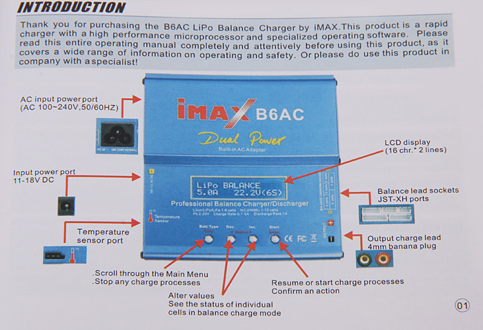 Imax b6 80w battery charger balance charger with xt60 parallel.