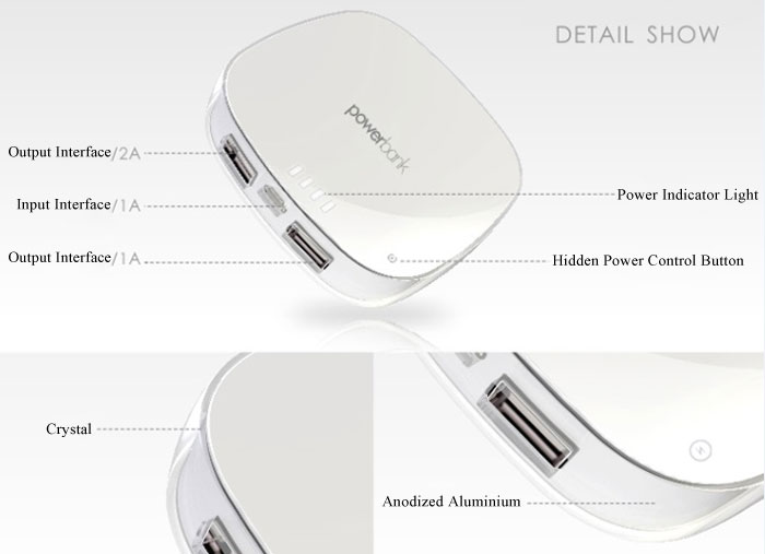 Cosmetic Box Design 5500mAh Mobile Power Bank Portable Charger with Mirror Surface for iPhone 4 4S 5 5S 5C iPad Samsung S4 i9500 i9505 Samsung Galaxy S5 Note 2 Note3 Nokia Sony HTC etc.