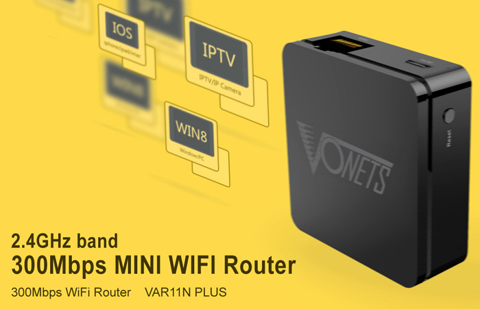 VONETS VAR11N PLUS 2.4GHz 300Mbps Mini Wireless Router with WAN and Micro USB Port for Travel
