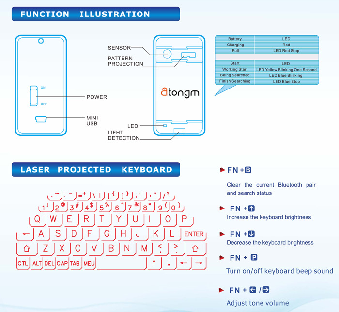 Atongm bluetooth laser projection virtual keyboard 4373 free leisure life anytime anywhere to enjoy the acme brought by the virtual keyboard ccuart