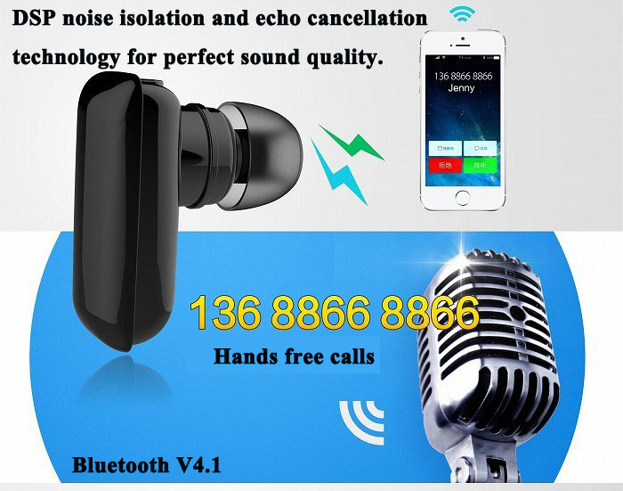 Roman Q2 Candy Stereo Wireless Bluetooth Hands Free Earphone Bluetooth V4.1 Ear-hook Headset with Mic Support Phone Calls and Music for Smartphone Tablet PC