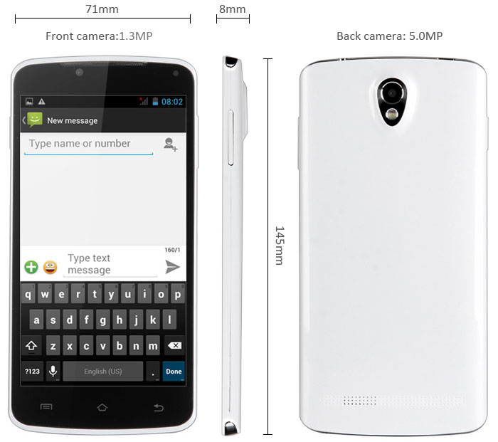 P8 Android 4.2 3G Phablet with 5.0 inch WVGA Screen ...