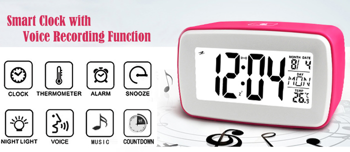 Stylish LCD Display Smart Snooze Alarm Clock Voice Recording Touch Button  with Cold LED Backlight