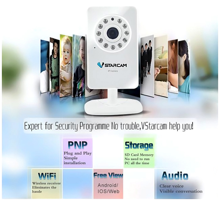 VStarcam T6892WP 0 3MP P2P Mini WiFi Wireless IP Camera with Mobile Phone  Watch Function for Home Security