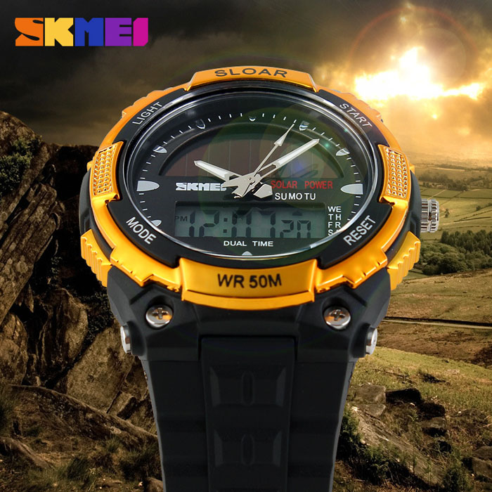 Skmei 1049 Solar Power Army LED Watch Date Week Dual-movt 5ATM Water  Resistant Military e1185b57d44