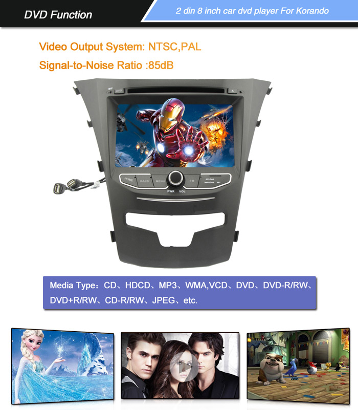 7 inch 2 Din TFT Screen In - Dash Car DVD Player with Bluetooth Radio GPS  Functions for Ssangyong Korando