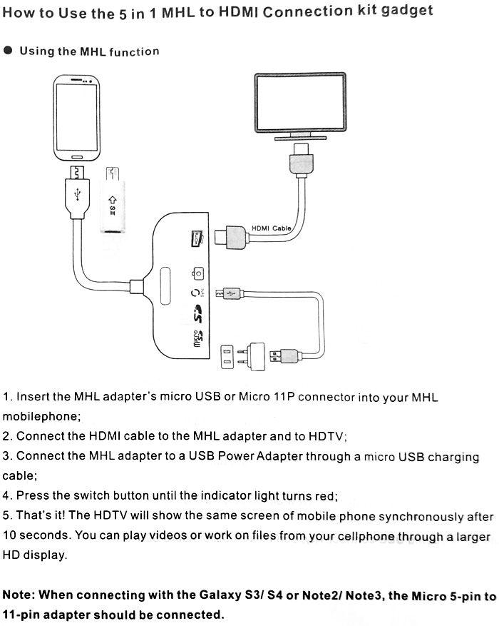 5 in 1 MHL to HDMI Connection Kit Micro 5 - pin to 11 - pin ...