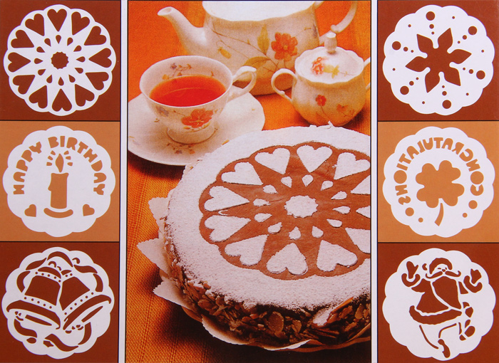6pcs / Pack Cake Stencil Template Mould Birthday Cake Decoration- White