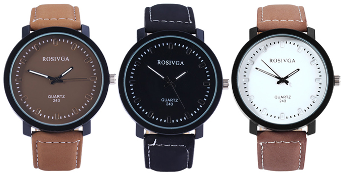 Rosivga 243 Male Quartz Watch Leather Strap with Pin Buckle Round Dial
