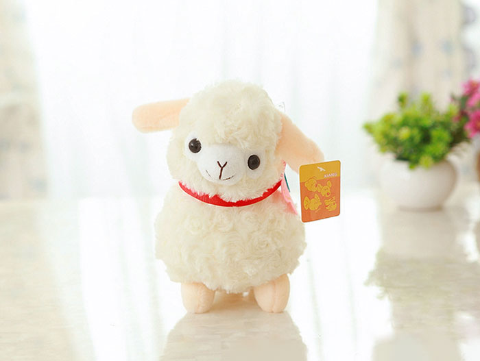 20CM Little Cream Lamb Baby Sheep Soft Plush Toy with Flower