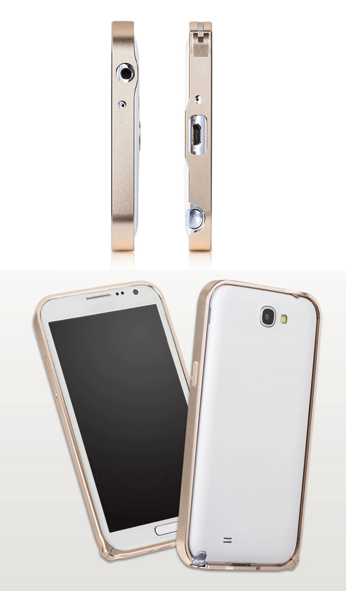 Fabitoo Aluminium Alloy Bumper Frame Cover for Samsung Note 2 N7100 - Golden