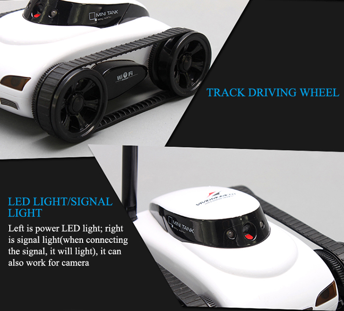 777 - 270 ISPY Tank with 0.3MP Camera APP Wi - Fi Remote Controlled Car ( Just for IOS System Devices)- White