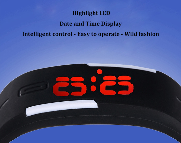 LED Watch Red Subtitles Date Rubber Strap Rectangle Dial- Azure