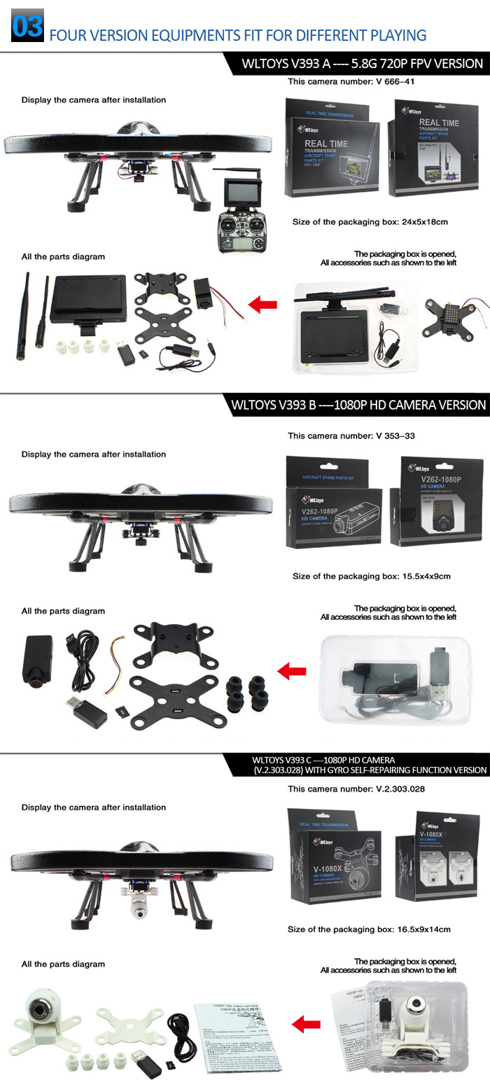 Wltoys V393c Headless Mode Brushless Remote Control Quadcopter With Video Camera Parts Diagram Of Images 1 X English Manual Screwdriver Set Anti Shock 1080p Card Reader 4g High Speed Tf Usb Cable