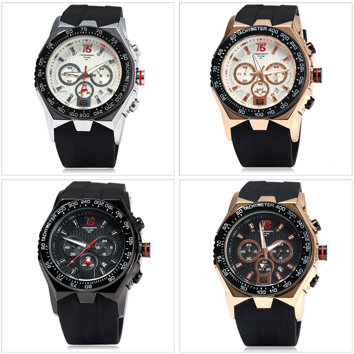 T5 3387 Business Male Quartz Watch Date Display Rubber Band Water  Resistance- Golden 542ec17379f