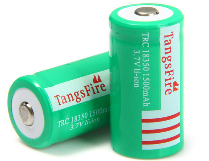 2 x TangsFire 18350 1500mAh Lithium-ion Battery Rechargeable Cylinder Battery- Grass Green