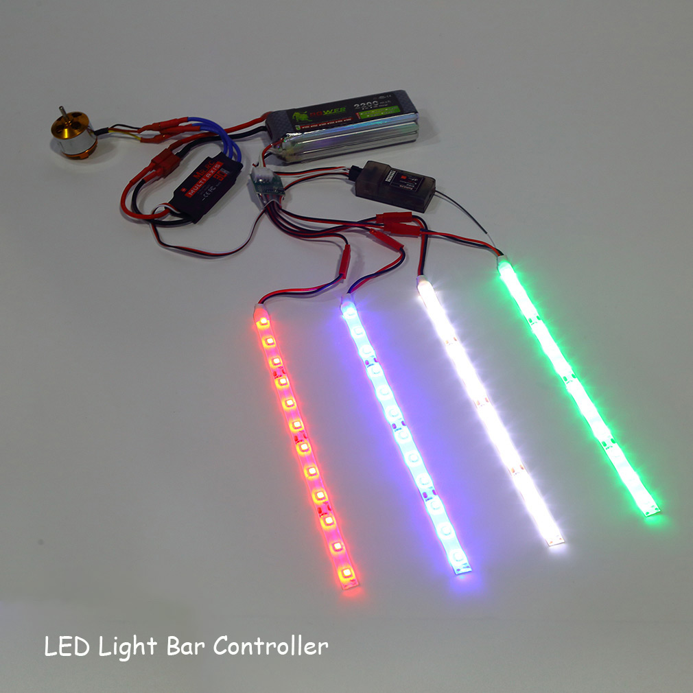Led light bar controller for rc quadcopter x copter hexacopter connection signal cable for plugging into the receiver jst connector for connecting the led light bar then plug the male interface aloadofball Gallery