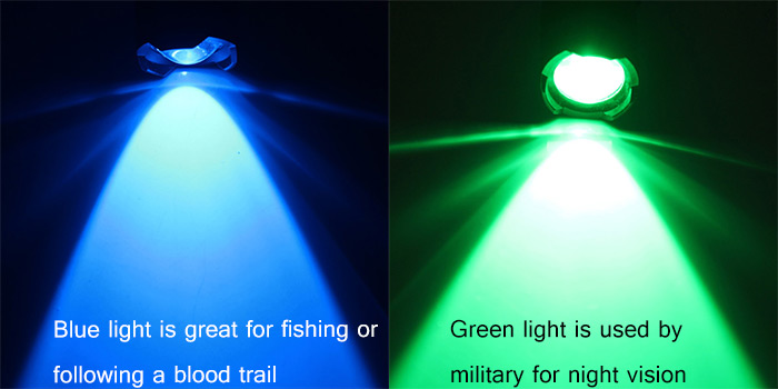 Blue And Green Light Are Available: Blue Is For Fishing Or Following A  Blood Trail; Green Light Is Suitable For Search, Hunting Or A Night Vision  Of ...