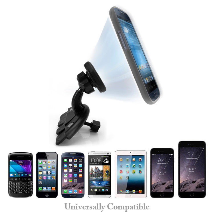 XT-307 360 Degree Rotation Cradle-less Magnetic Car CD Slot Mount Holder for Smartphone GPS- Black