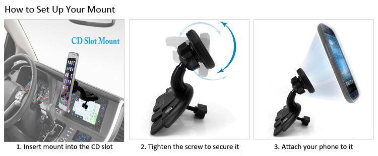 XT-307 360 Degree Rotation Cradle-less Magnetic Car CD Slot Mount Holder for Smartphone GPS