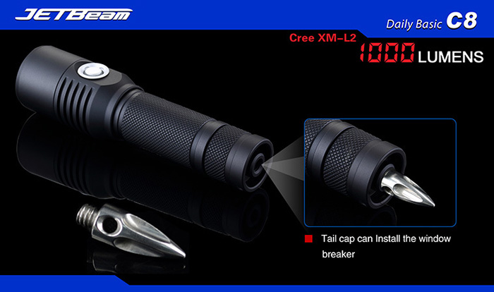 Jetbeam C8 1000LM Cree XM L2 U2 4 Modes Waterproof LED Flashlight  Rechargeable Torch ( 1 x 18650 Battery )