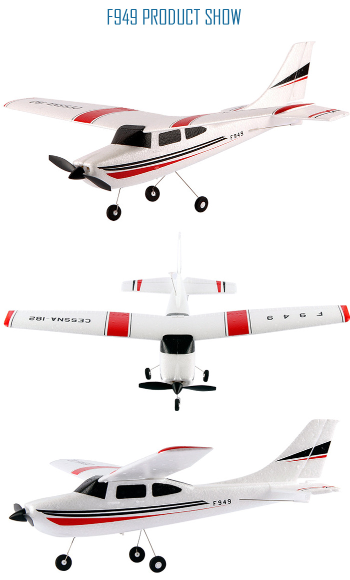 Gearbest Uk Wltoys F949 Cessna 182 24g 3 Channel Rc Aircraft Fixed Parts Accessories 3ch Wing Rtf Airplane White