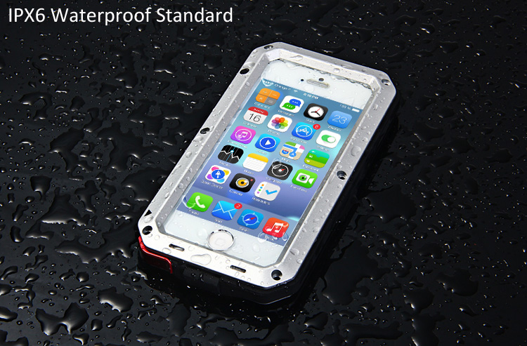 best sneakers 6827a b17f0 Metal Aluminum Case with Gorilla Glass Waterproof Shockproof Dustproof Full  Angle Protected for iPhone 5S 5C 5 SE