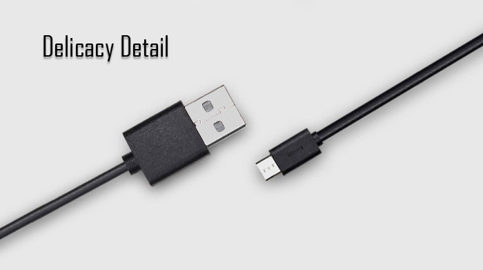 Xiaomi 1.2m Micro USB Interface Charge and Sync Cable of Woven Cable Design- Black