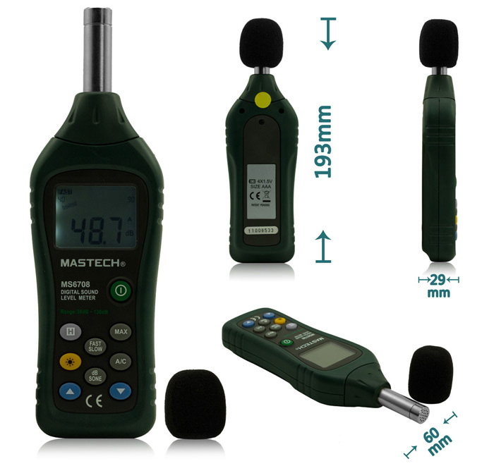 MASTECH MS6708 Digital Sound Level Meter Decibel Noise Meter 30dB to 130dB  with Backlight / LCD Display