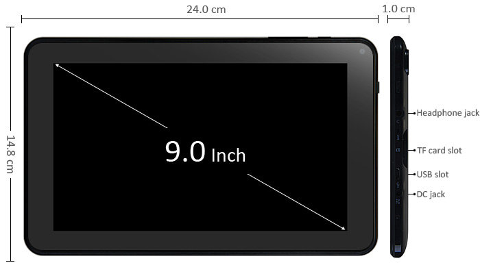 9 inch Android 4.4 Tablet PC Quad Core A33 1.3GHz WVGA Screen 8GB ROM Bluetooth WiFi Functions