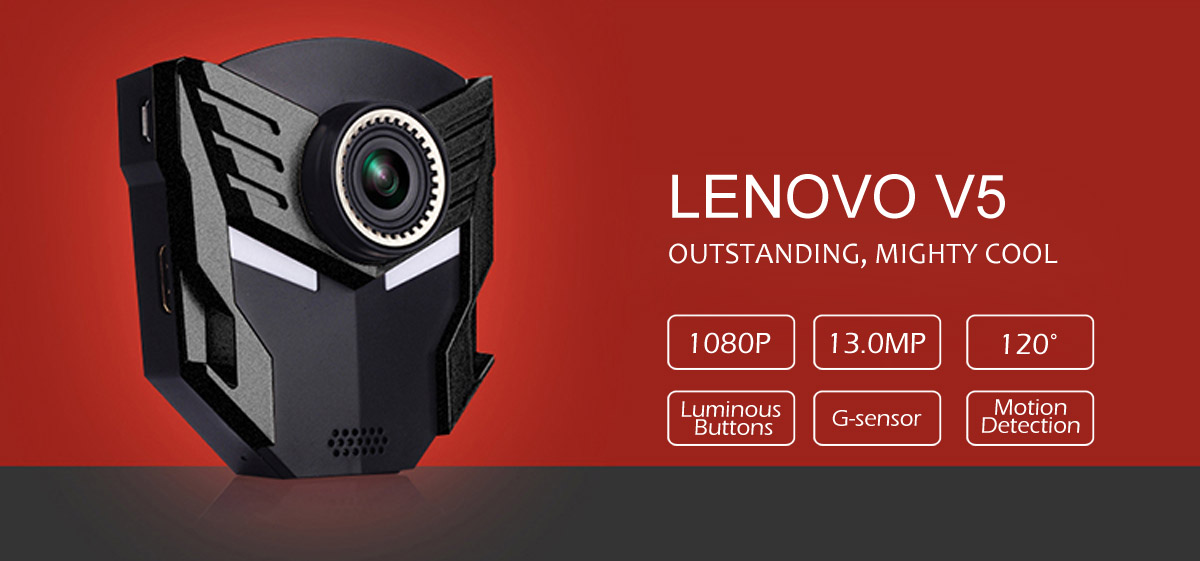 Lenovo V5 2.4 inch LCD Screen Car DVR 1080P HD Resolution 120 Degree Wide Angle Lens Support HDMI Output- Black