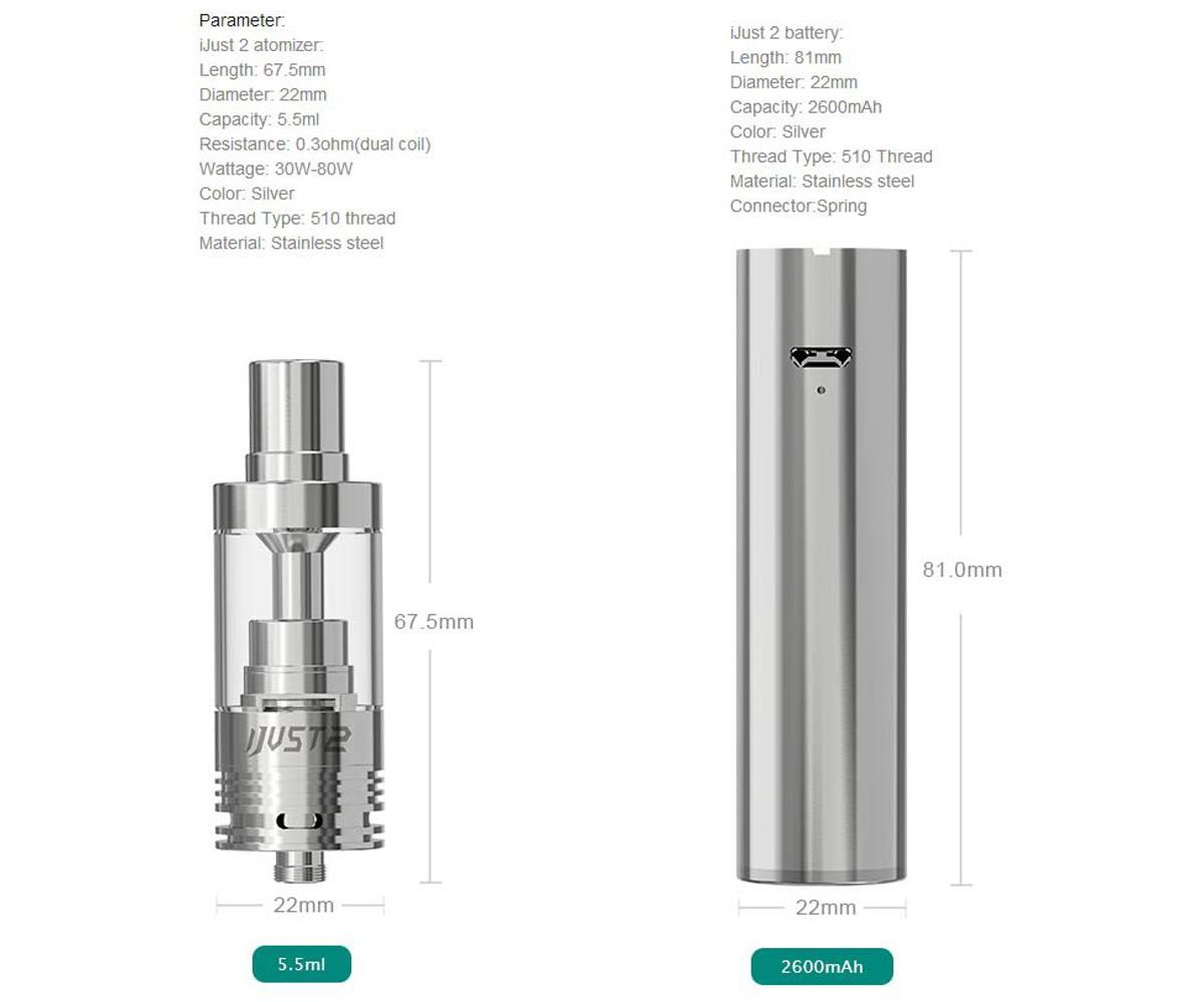 Original Eleaf iJust 2 Stainless Steel E-Cigarette Kit with 2600mAh Battery  5 5ml Atomizer