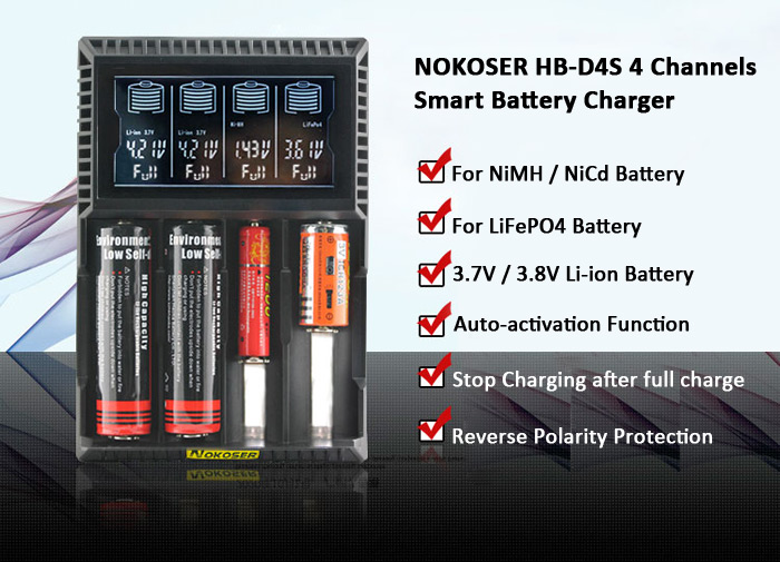NOKOSER HB - D4S Intelligent LCD Battery Charger with 4 Channels for ...