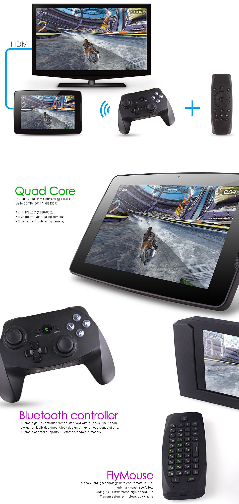 7 inch UNU M7006 Android 4 2 Game Tablet PC RK3188 Quad Core 1 8GHz
