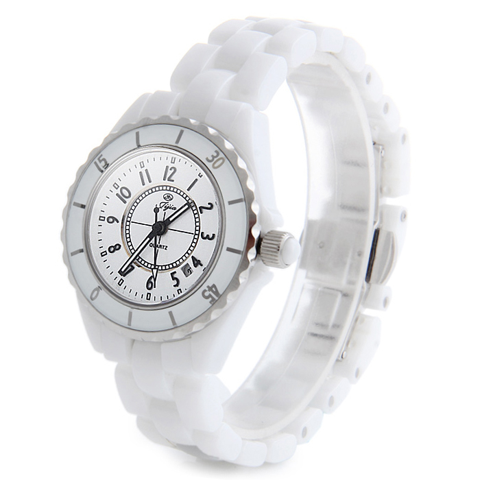Jijia STL9005 Elegant Ceramic Band Quartz Watch Women Date Function Wristwatch