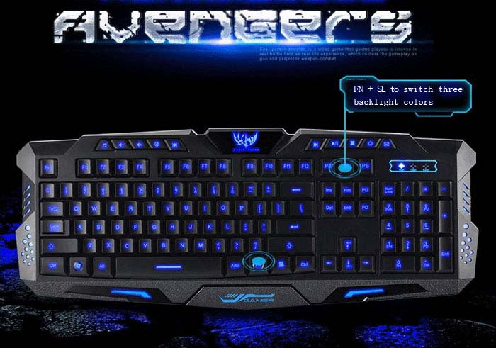 A877 104 Keys Three Adjustable Backlight Colors USB Wired Gaming Keyboard  for PC Laptop
