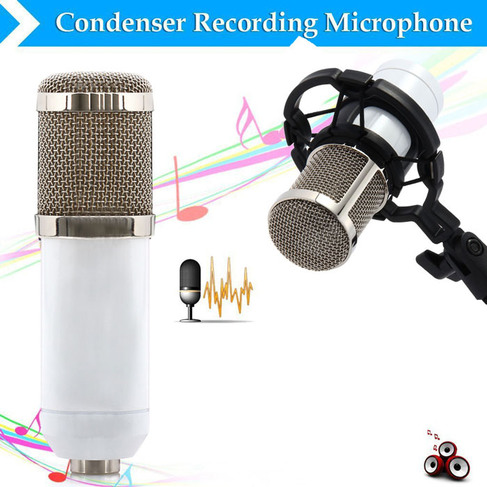 BM - 800 Condenser Sound Recording Microphone with Shock Mount for Radio Braodcasting- Black