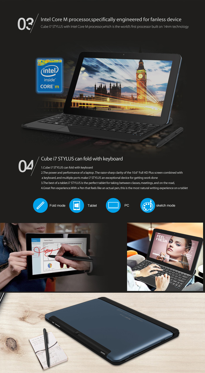 10.6 inch Cube i7 Stylus Windows 10 Ultrabook Tablet PC Intel Core M 1.0GHz FHD Screen 4GB RAM 64GB ROM WiFi HDMI Bluetooth Functions