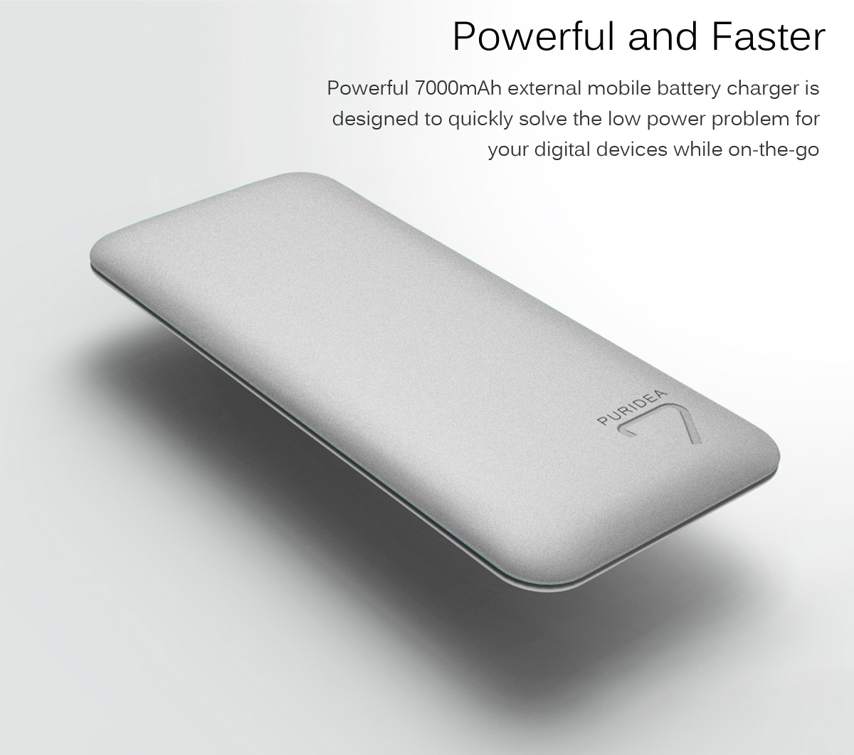 PURIDEA S4 7000mAh Mobile Power Bank Dual USB Output Battery Charger for  iPhone 6 / 6 Plus Samsung S6 / S6 Edge Note5 etc