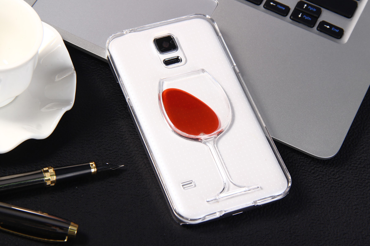 reputable site 5d45c 6d087 3D Liquid Flow Red Wine Glass Cover Case for Samsung Galaxy S5