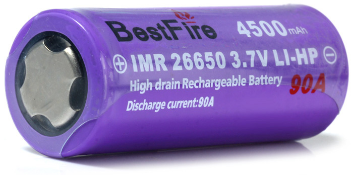 2 x BestFire IMR 3.7V 4500mAh 90A 26650 Lithium-ion Battery High Drain LI-HP Rechargeable Battery- Purple
