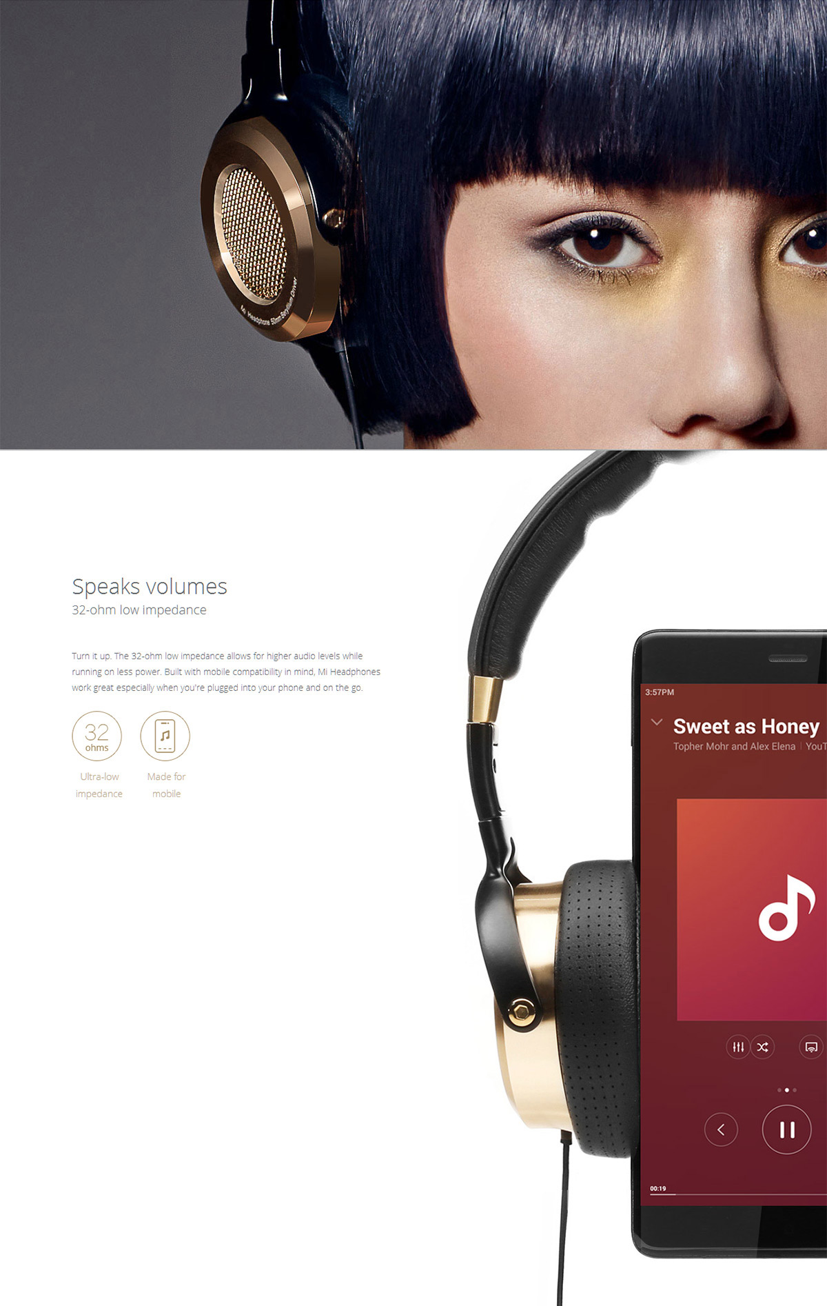 Original Xiaomi Foldable Hi-Fi Low Impedance Headphones Noise Reduction Function Headset for Music Phone Call- GOLD AND BLACK