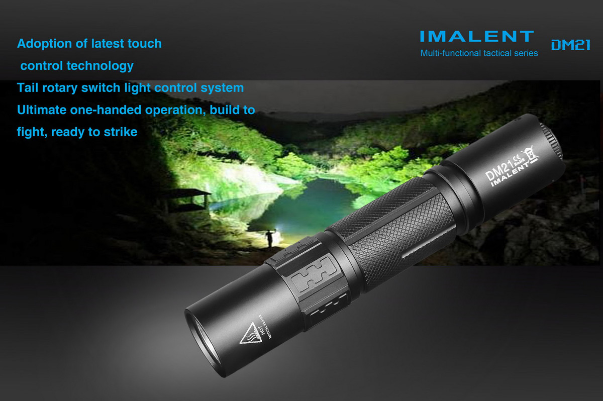 Imalent Dm21 Tactical Led Flashlight 5490 Free Shipping Single Cell Package Contents 1 X Usb Cable Nylon Holster English Chinese User Manual Spare O Ring