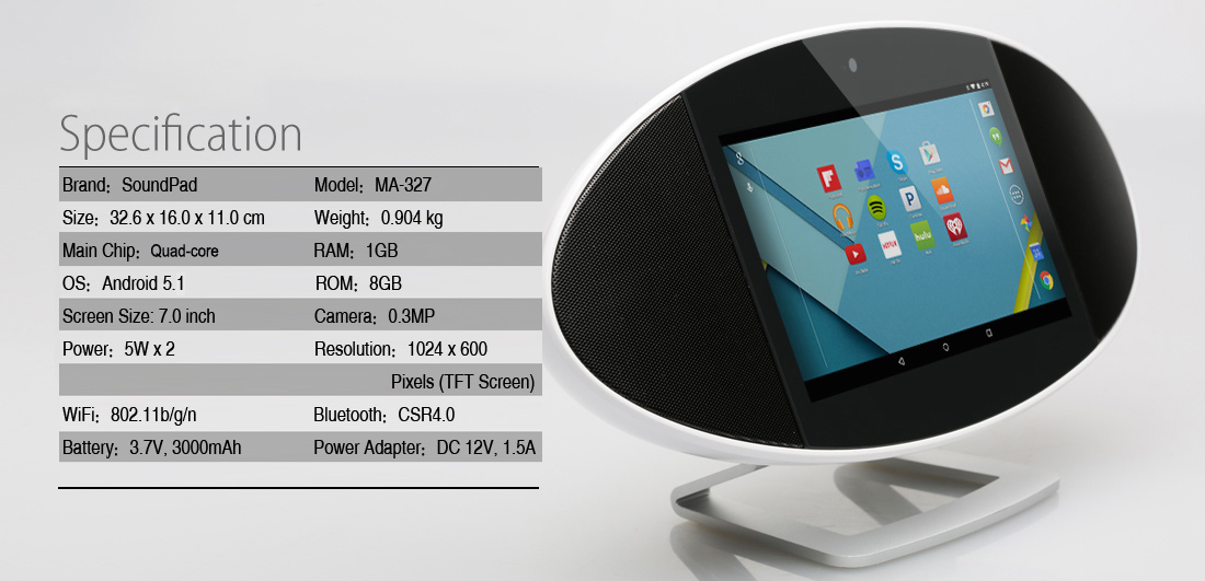 SoundPad MA-327 Bluetooth 4 0 Speaker 7 inch Touch Screen Smart Sound Box  Android 5 1 RK3028A Quad-core 1GB 8GB 0 3MP Camera WiFi HDMI Tablet PC