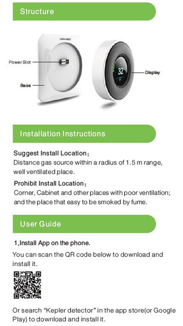 Original Orvibo Kepler Wifi Smart Gas Detector 12387 Free Download Image Double Sink Vanity Plumbing Diagram Pc Android Iphone Notes You Can The App By Scanning Two Dimension Code On User Manual