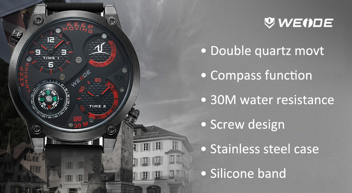 Weide UV-1505 Dual Movt Quartz Watch with Compass Silicone Band 30M Water Resistance for Men- Black and red