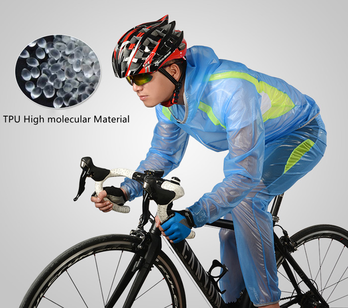 ROCKBROS Unisex Breathable Cycling Ultra-thin Raincoat with Reflective Strips for Rainy Cycling
