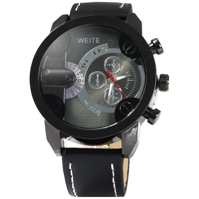 brand weite men watches leather index