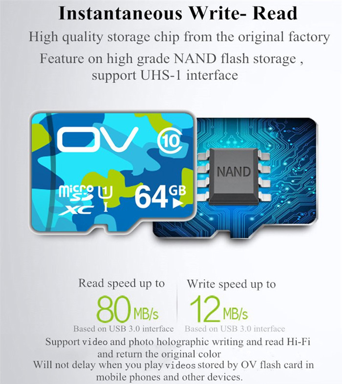 OV 64GB Micro SDXC Memory Card Camouflage Version Class 10 with 80MB/s Reading Speed 12MB/s Writing Speed